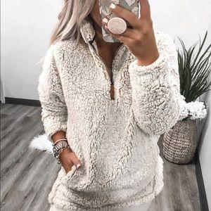 Sherpa fur fleece half zip pullover jacket